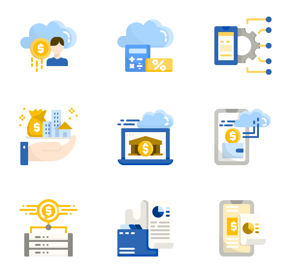36 fintech icon packs.
