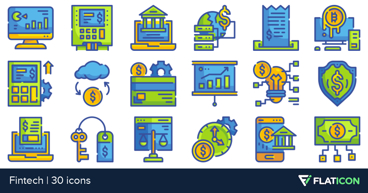 Fintech 30 free icons (SVG, EPS, PSD, PNG files).