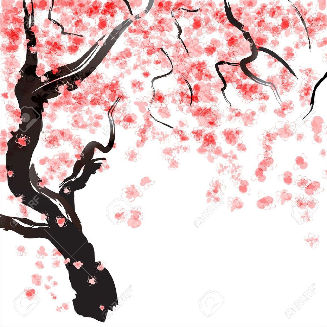 Fiore Di Ciliegio Giapponese Acquerello Clipart Royalty.