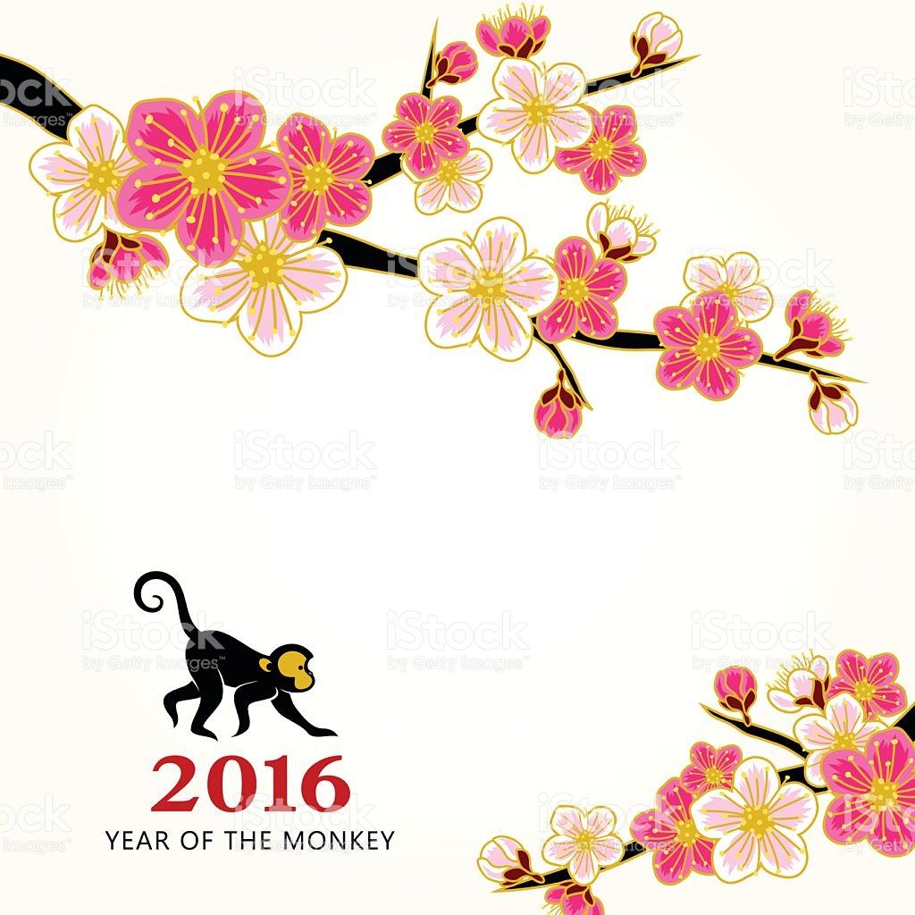 Capodanno Cinese Fiori Di Pesco Illustrazione 504454090.