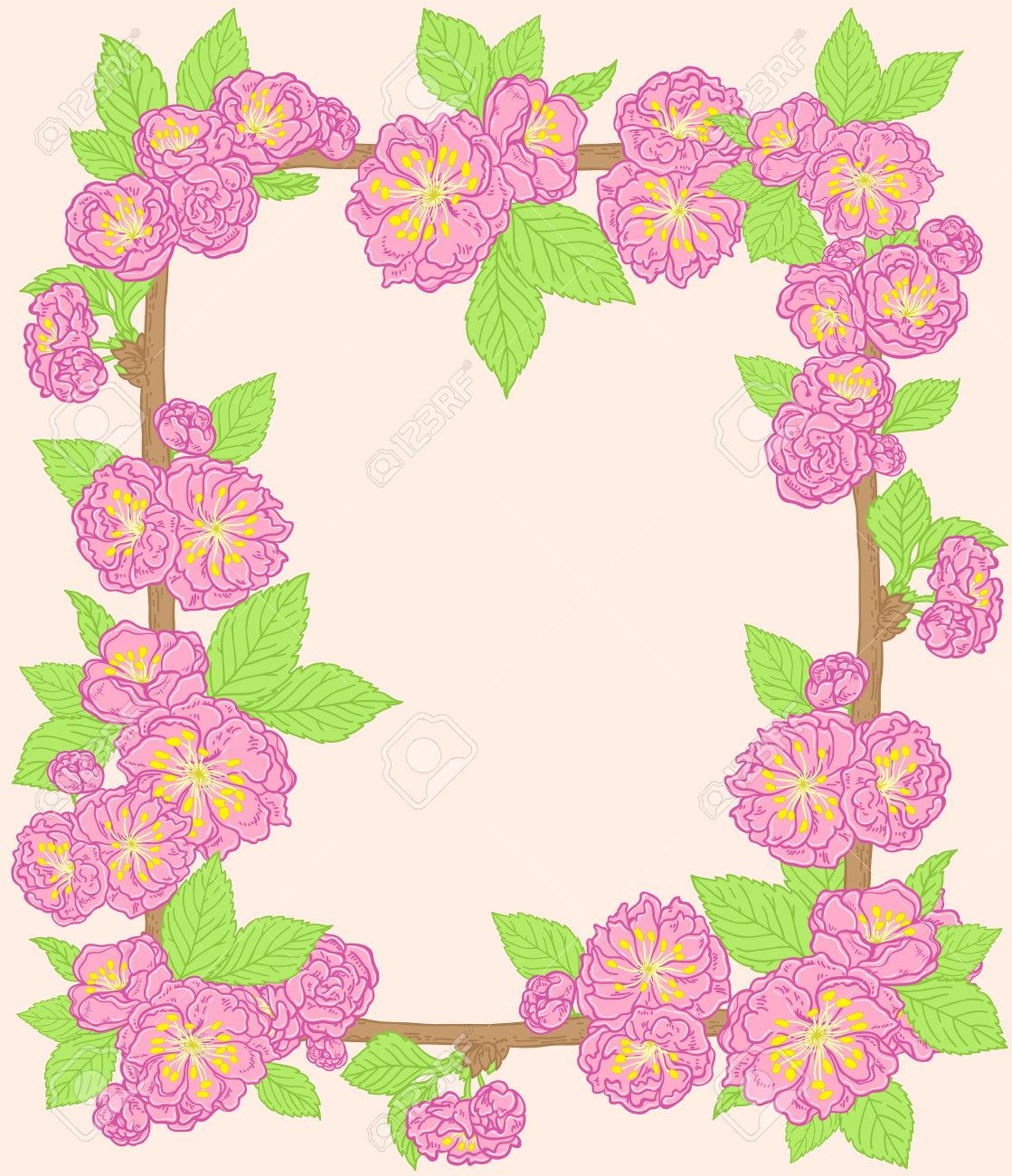 Decorative Cornice Floreale Con Rosa Fiori Di Pesco Clipart.