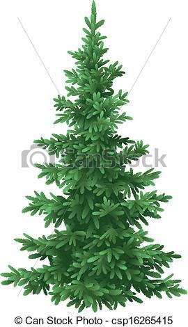 Vector Clip Art of Christmas fir tree, isolated.