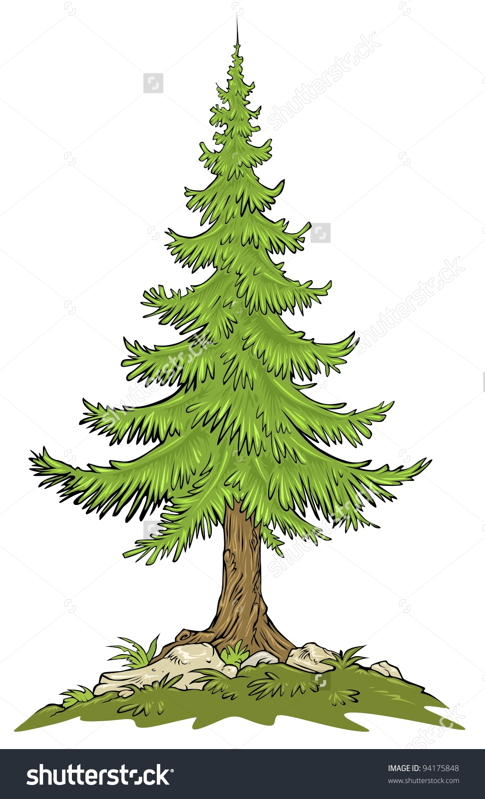 Fir Tree Cartoon Clip Art Stock Vector 94175848.