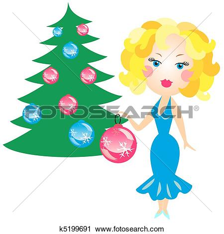 Clipart of elegant blonde in a blue dress decorated with Christmas.