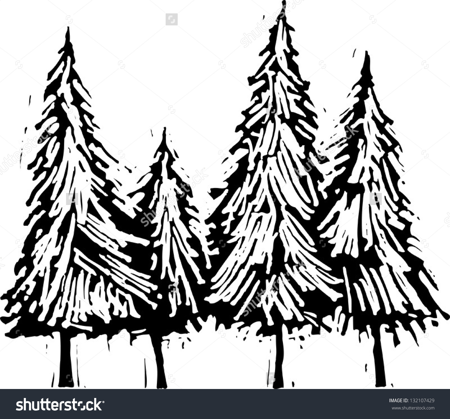 Black White Vector Illustration Pine Trees Stock Vector 132107429.