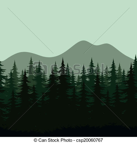 Clip Art Vector of Seamless mountain landscape, forest silhouettes.