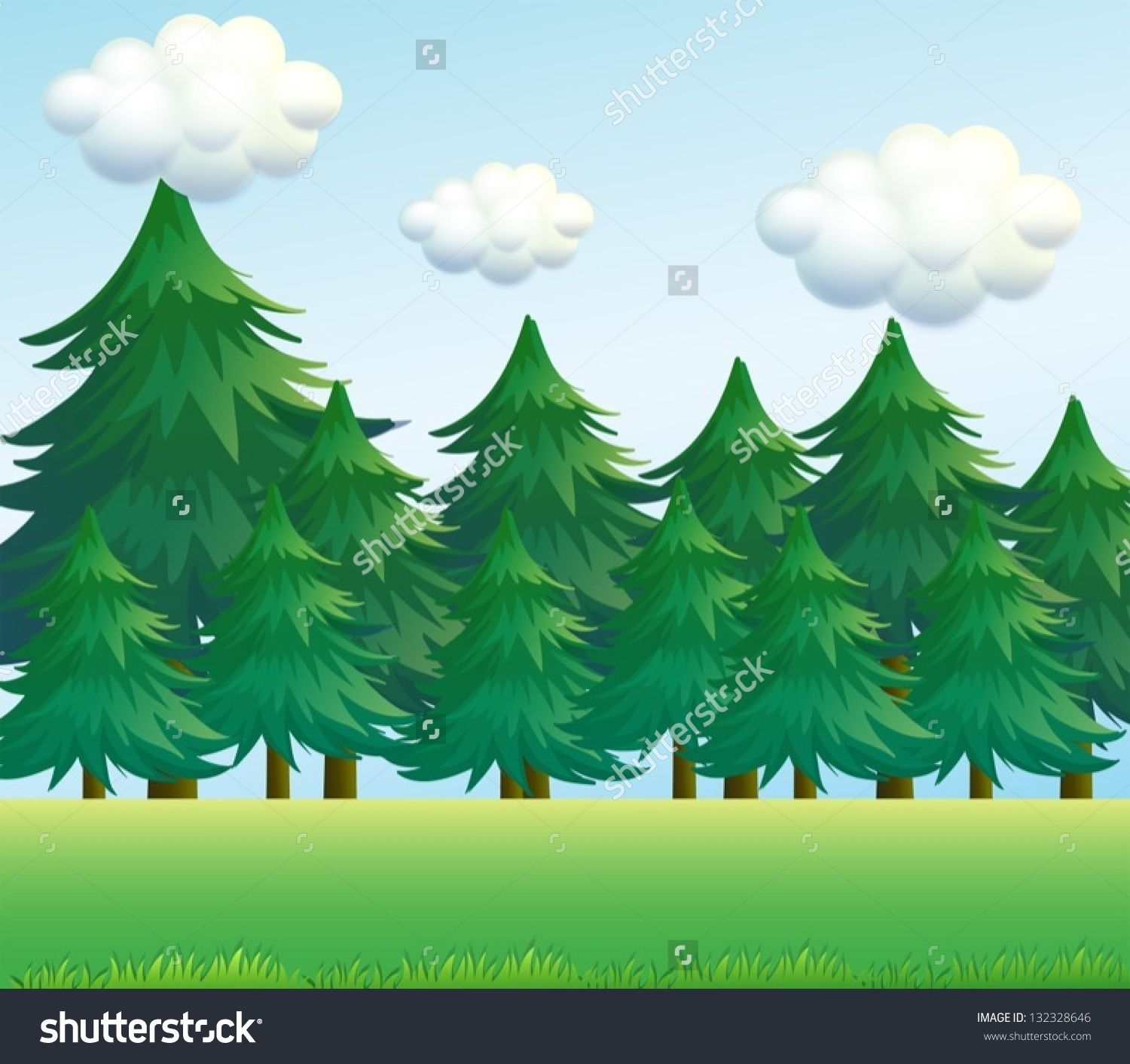 Illustration Pine Tree Scenery Stock Vector 132328646.