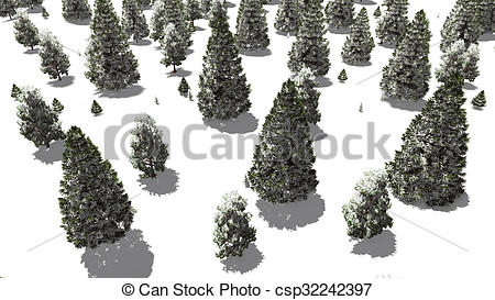 Stock Illustration of Flight over snowy winter fir forest.