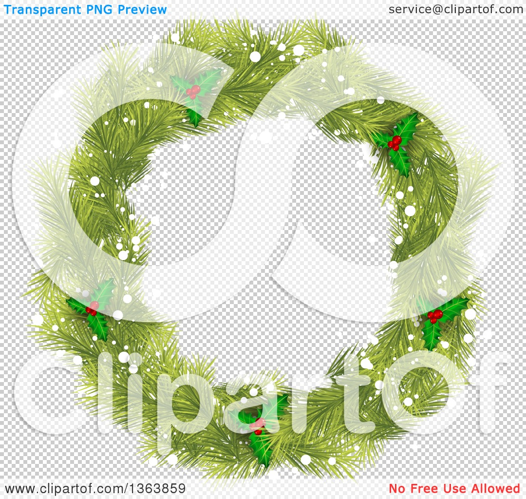 Clipart of a Christmas Wreath Made of Green Fir Tree Branches.
