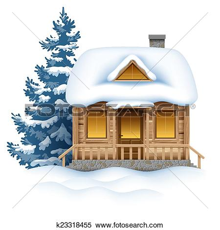 Clipart of Winter house k23318455.