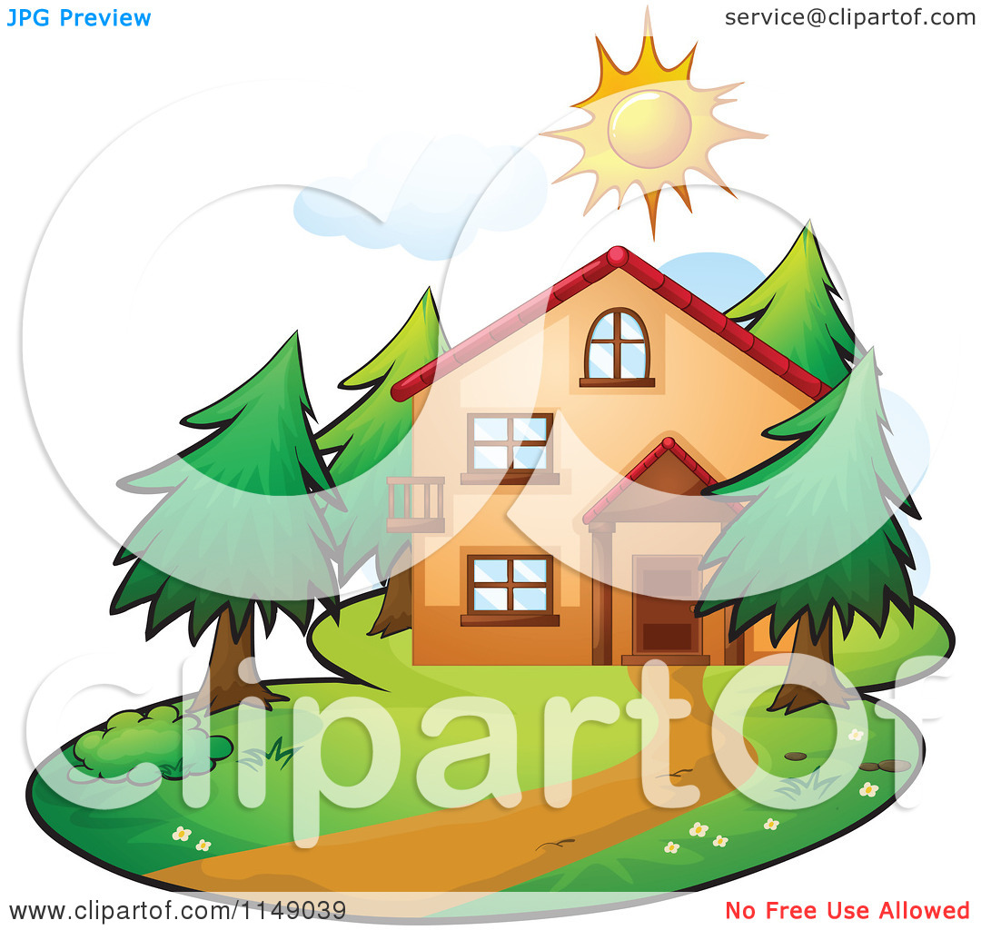 Cartoon of a Residential Home on a Sunny Day.