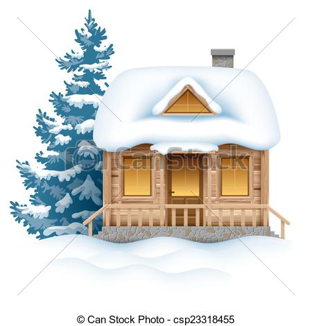 Clipart Vector of Winter house.