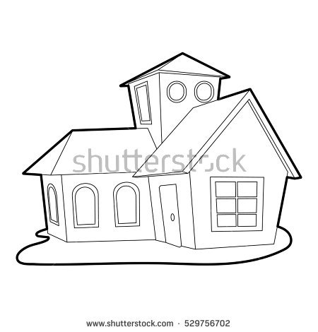 Vector Drawing House Coloring Kids Stock Vector 517480006.