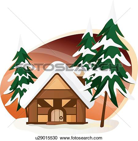 Clipart of Christmas trees, house, cabin, Cabins, lookout shed.