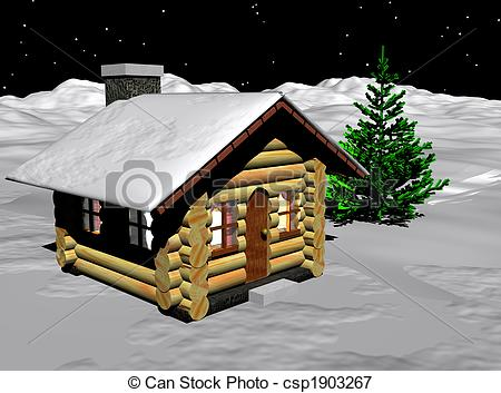 Stock Illustrations of Log Cabin.