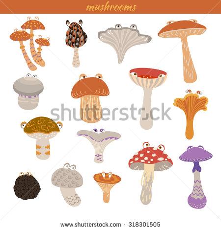 Vector Illustration Set Different Types Mushrooms Stock Vector.