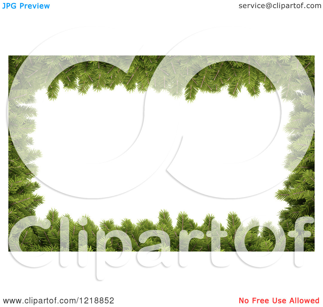 Clipart of a 3d Christmas Border Made of Fir Twigs Around White.