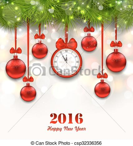 Clipart Vector of New Year Magic Background with Clock, Fir Twigs.