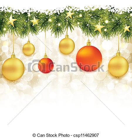 Vector Clipart of Border of fir twigs with hanging Christmas.
