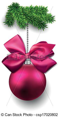 Vector Clipart of Christmas ball on fir twigs..