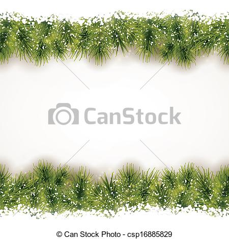 Vector Illustration of Seamless border of fir twigs with snow.