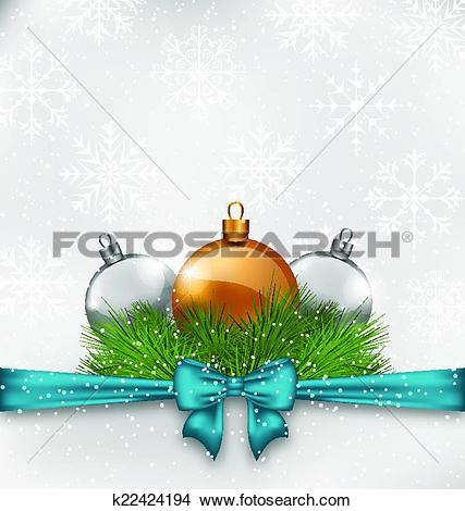 Clipart of Christmas background with fir twigs and glass balls.