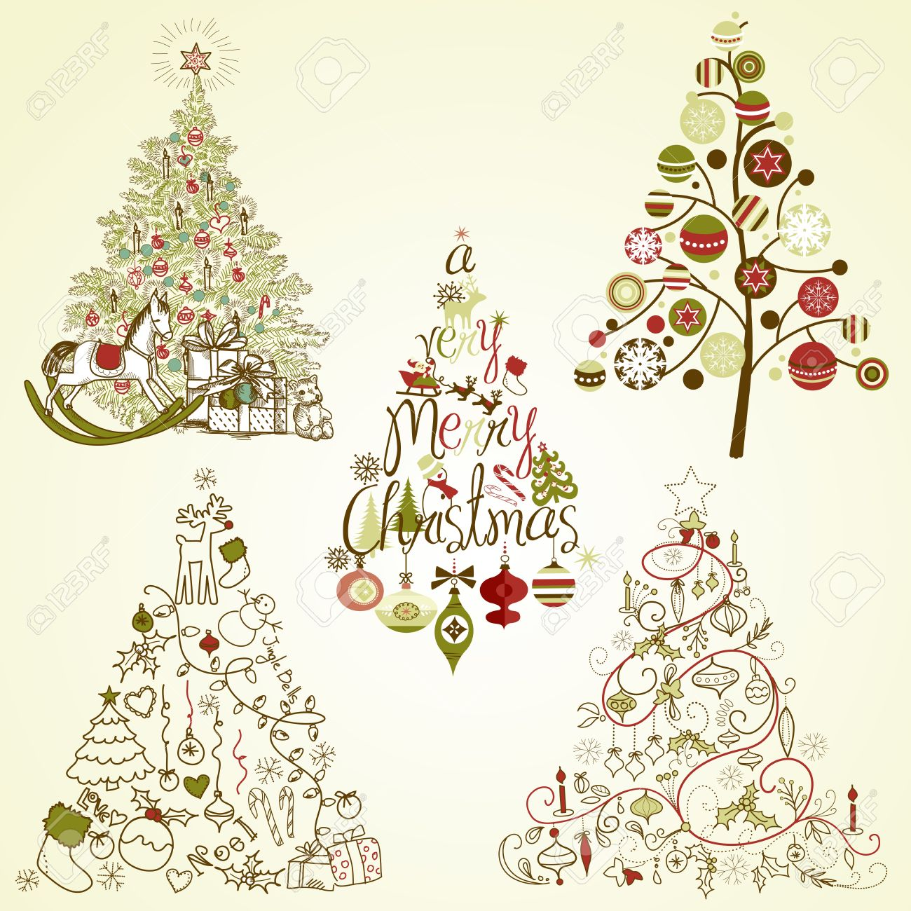 Christmas Tree Collection. Vintage, Retro, Cute, Calligraphic.