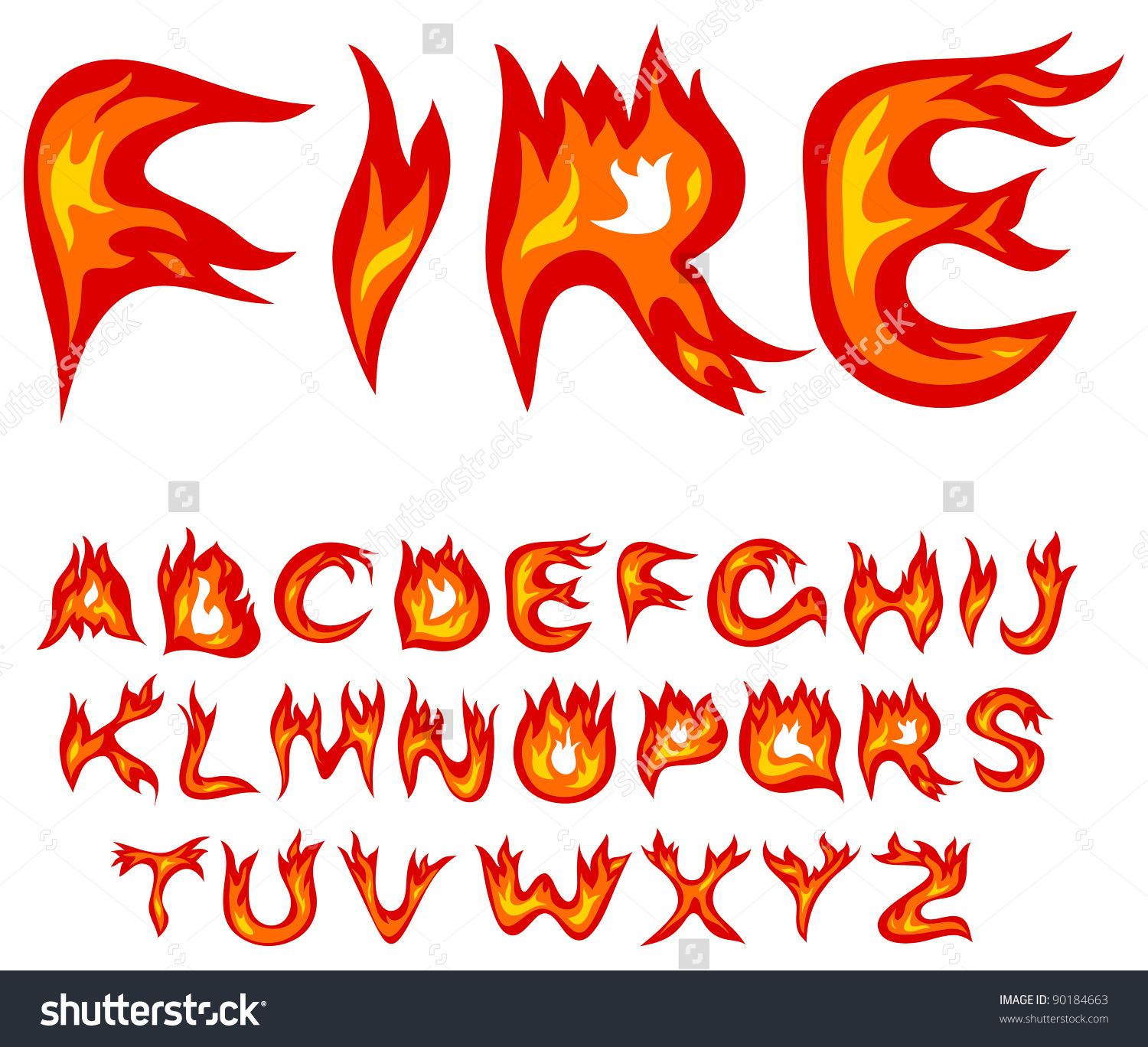letters as flames vector.