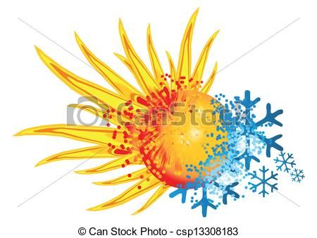 Vector of logo hot and cold with an explosion of fire and ice.