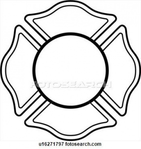 Fire Hat Badge Clipart Outline.