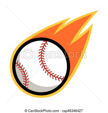 Baseball sport comet fire tail flying logo.