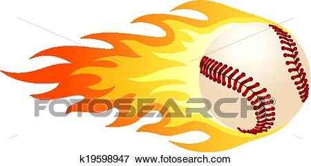 Flaming baseball Clip Art.