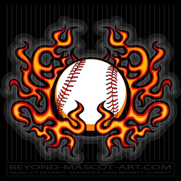 Baseball Fire Clip Art.
