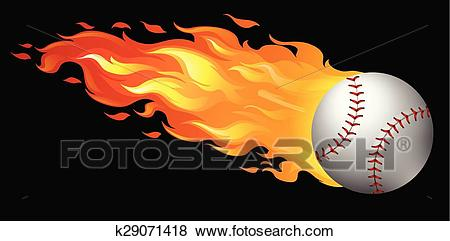 Baseball on fire Clip Art.