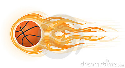 Basketball with fire clipart.