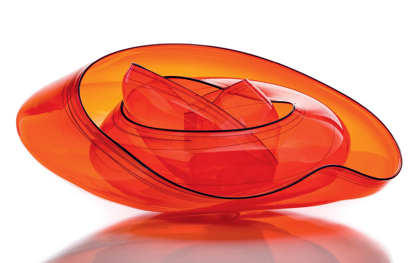 Fire Orange Basket Set The Dale Chihuly Collection.