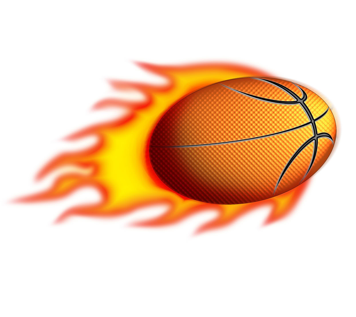 Basketball on fire clipart.