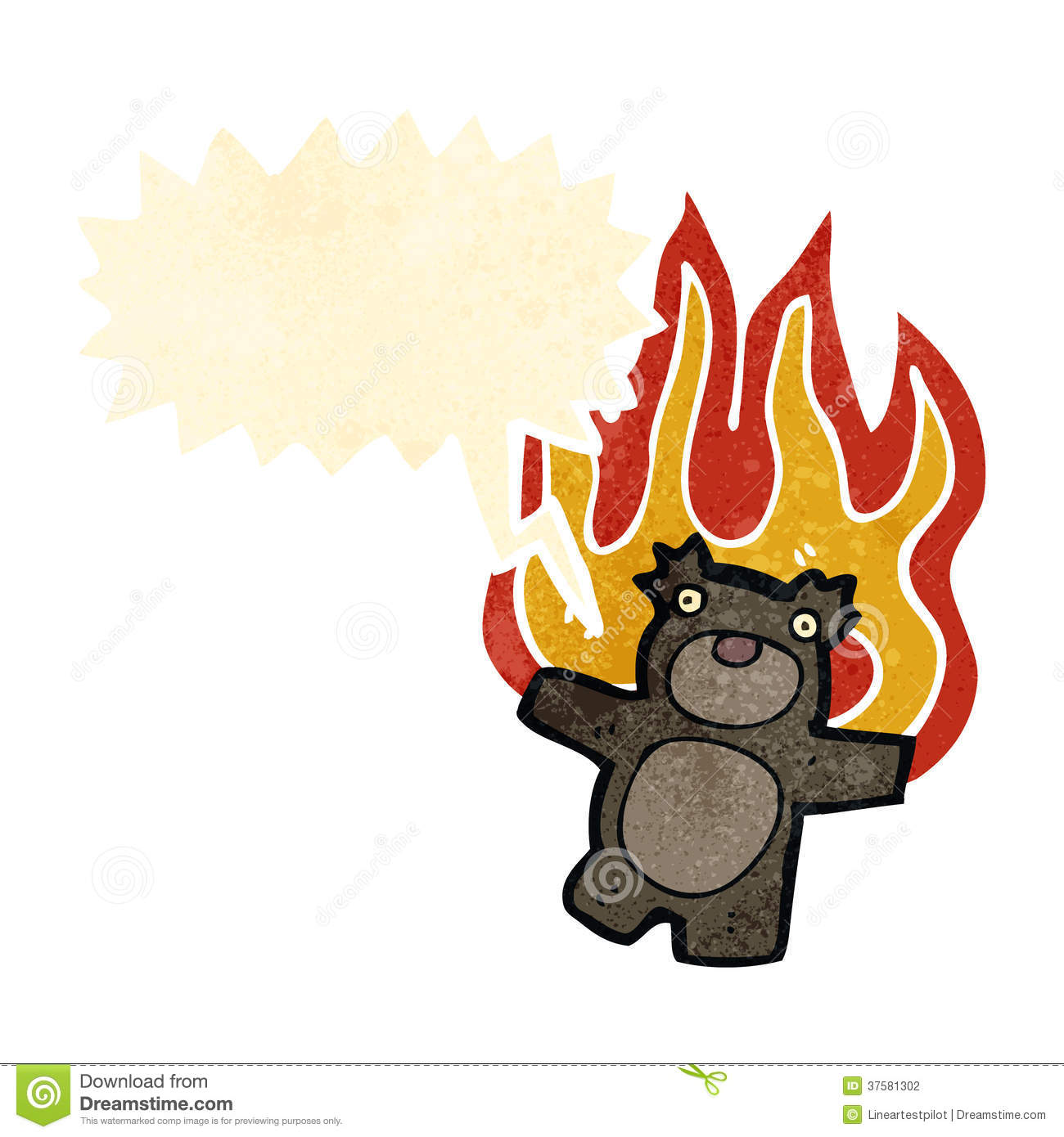 Retro Cartoon Teddy Bear On Fire Stock Photography.