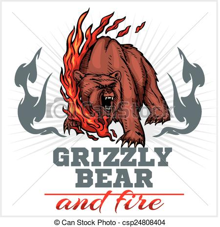 Vector Clipart of grizzly bear and fire, emblem elements.