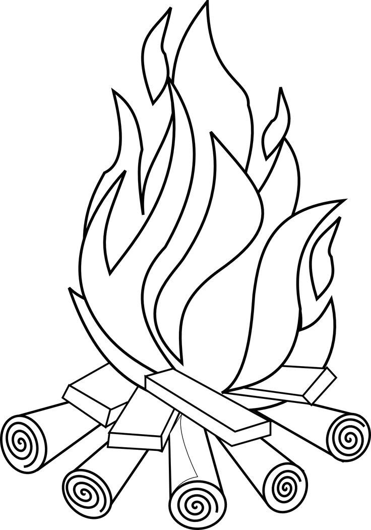 Fire clipart black and white.