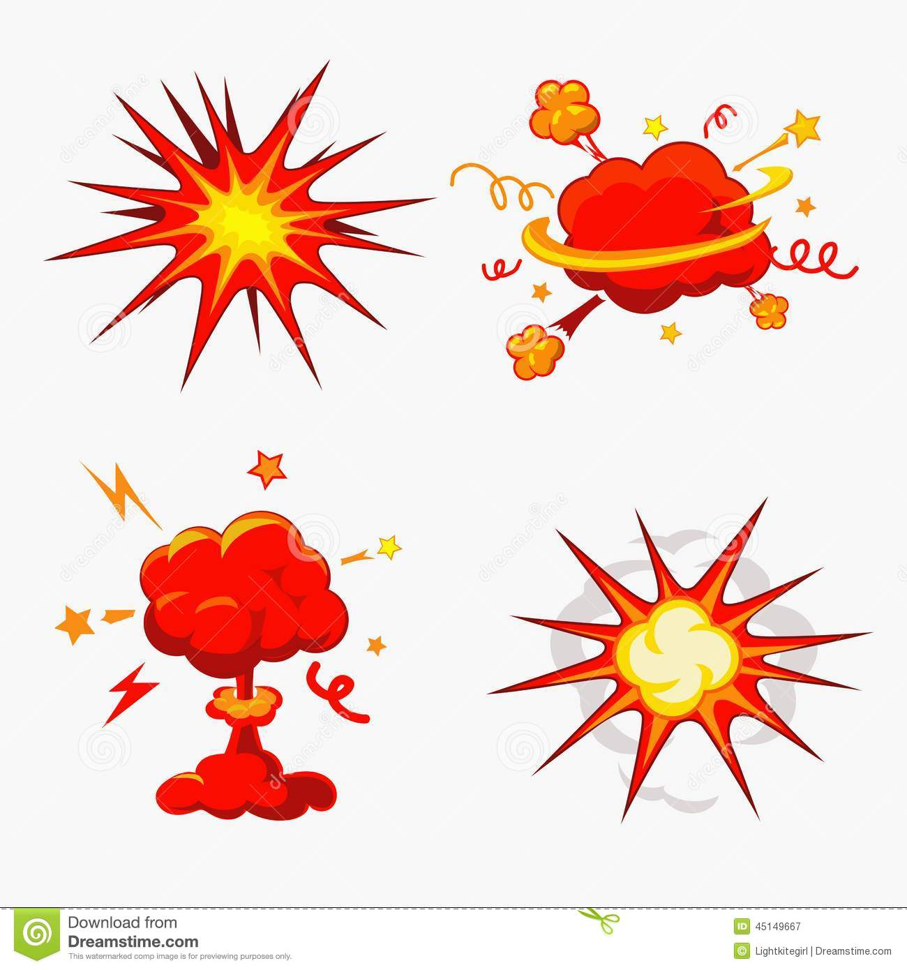 Comic Book Explosion, Bombs And Blast Set Stock Vector.