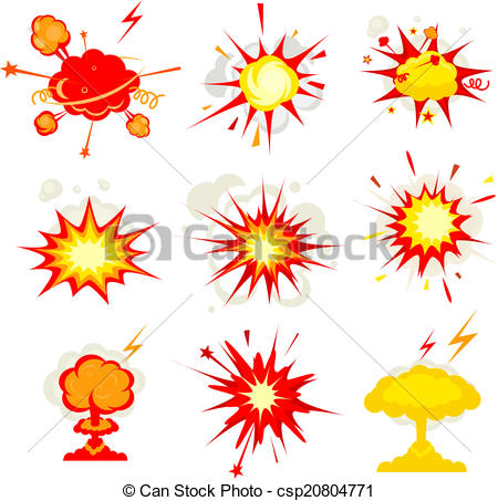 Vectors Illustration of Explosion, blast or bomb bang fire.