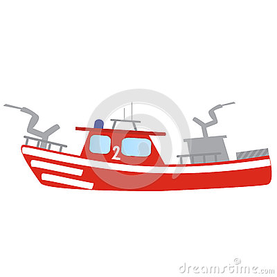 Firefighter Emergency Red Fire Boat Stock Illustration.