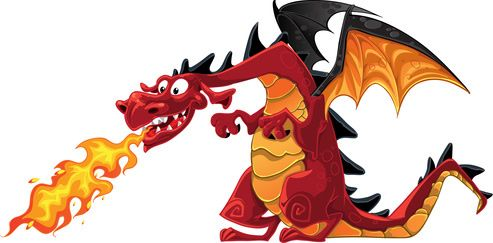 Green Fire Breathing Dragon Clipart.