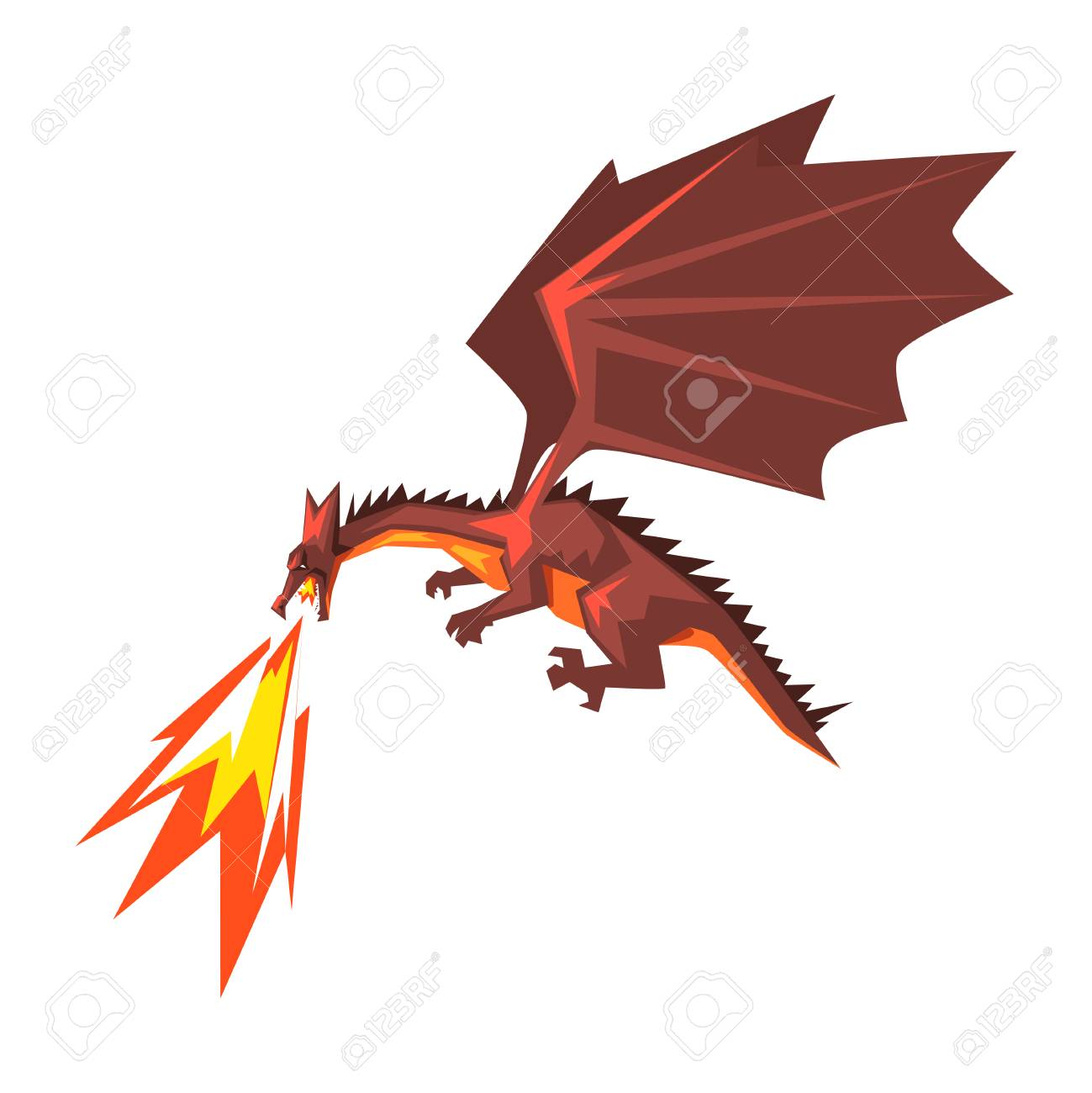 Red dragon spitting fire, mythical fire breathing animal vector...