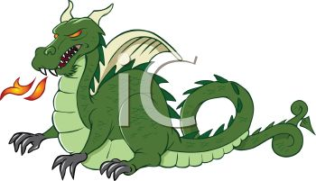 Royalty Free Clip Art Image: Classic Fire Breathing Dragon.