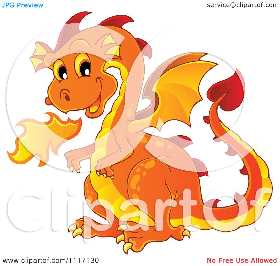 Vector Cartoon Of A Orange Fire Breathing Dragon.