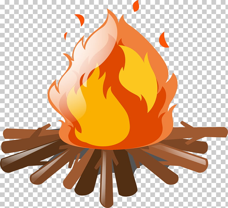 Camp fire, burning firewood art PNG clipart.