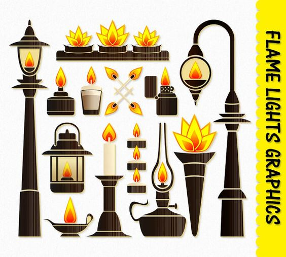 Fire Flame Lights Clip Art Graphic Fire Clipart Scrapbook Candle.
