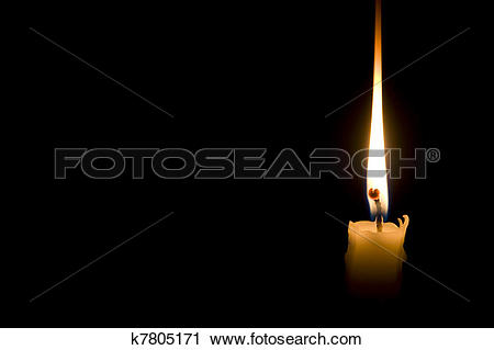 Clipart of single candle light on black background k7805171.
